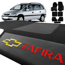 Tapete Zafira Carpete Preto Bordado Personalizado Carro 7pç