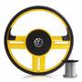 Volante Rallye Slim Amarelo Gol G2 G3 G4 G5 Fusca Fox + Cubo