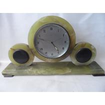 Relógio De Mesa Art Deco Em Onix Verde E Negro.