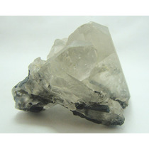 375.1 Cts Quartzo Cristal C/ Turmalina Verde Pedra Preciosa