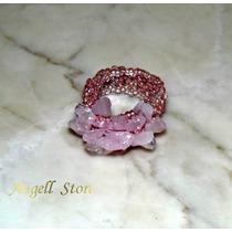 Anel Quartzo Rosa Pedra Semi Preciosa 18 E Acima