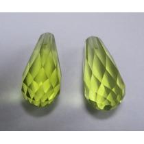 9,10 Cts Belíssimo Green Gold Verde Limão Furado Para Brinco