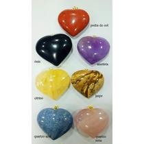 Pingente De Coração Em Pedras Ametista/citrino/ônix/quartzo