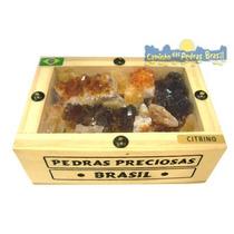 Baú De Madeira C/ Drusas De Citrino Natural /souvenir Brasil