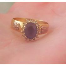 Anel De Ouro Amarelo Com Pedra De Ametista E Diamantes 18k