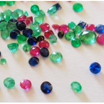 Pedras Preciosas 1 Rubi 1 Safira 1 Esmeralda 3 Pçs Tam 3mm