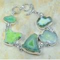 Pulseira Em Prata 925 E Pedras Naturais Ágata Drusa Verde!!!