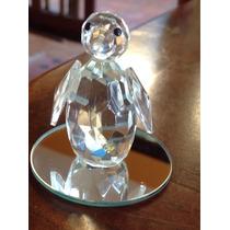 Mini Pinguim E Concha/pérola Cristal Lapidado C Base 2 Pecas