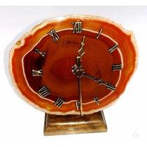 Relógio De Pedra Semipreciosa Ágata Natural Souvenir Brasil