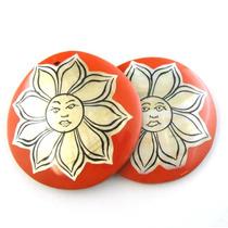 Leilão Par De Pedras Artesanais Madrepérolas Com Flor J9707