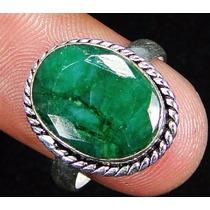 Anel Em Prata 925 E Pedra Natural De Esmeralda Lapidada!!!