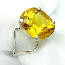 Delicado Anel Citrino Amarelo Natural Antique Em Prata 950k