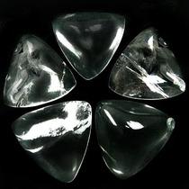 Lote 5 Triângulos Pedra Natural Cristal De Rocha P/ Montagem