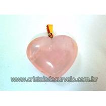 Pingente Coração Pedra Quartz Rosa Natural Montagem Dourado