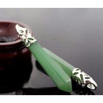 Pingente De Pedra Natural Quartzo Verde 6cm/folheada A Prata