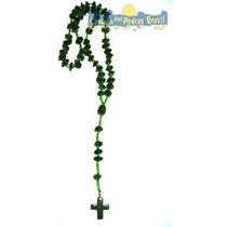 Terço Católico Em Pedras Naturais Quartzo Verde - 50cm