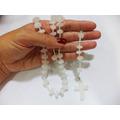 Terço Católico Em Pedra Cristal De Quartzo Branco - 50cm