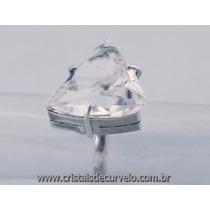Anel Trillion Prata 950 Pedra Cristal Montado Prata De Lei