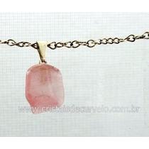 Pingente Quartzo Rosa Pedra Mineral B/ Prata Frete Barato