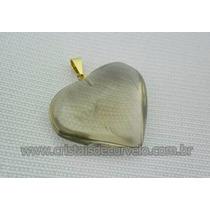 Pingente Coração Pedra Fumê Natural Banho Flash Dourado