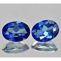3,13ct! Maravilhoso Par De Topázio Azul Paixão Natural!