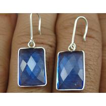 Par De Brinco Em Prata 950 Com Tanzanita Azul Retangular