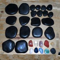 Kit De Pedras Quentes Vulcânicas Para Massagens + Cristais
