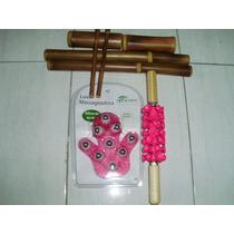 Rolo De Massagem Turbinada + Kit Bambu + Luva Massageadora