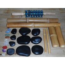 Pedras Quentes Para Massagens Kit Bambus Rolinho Turbinada