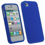 Capa De Silicone Azul + Película Protetora P Tela Iphone 4