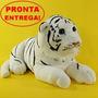 Bichinho De Pelúcia Filhote De Tigre Branco Luxo 48cm