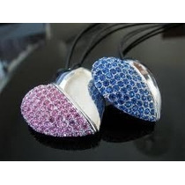 Pen Drive Colar Coração Cristal Swarovski Na Cor Rosa 4 Gb