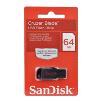 Pen Drive Sandisk 64gb Cruzer Blade Blister Lacrado Original