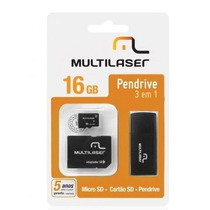 Pen Drive 3 Em 1 Multilaser 16gb Mc059 + Brinde Porta Cd/dvd