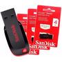 Pen Drive Sandisk Cruzer Blade 4 Gb Original Lacrado