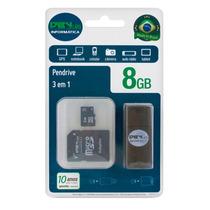 Pen Drive 3 Em 1 8gb - Micro Sd, Adaptador Sd E Pen Drive -