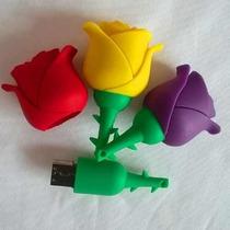 Pen Drive 8gb Formato Flor Rosa 5 Cores Diferentes Promoção