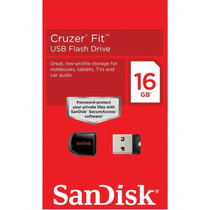 Pen Drive Sandisk 16gb Cruzer Fit Nano 100% Original +brinde