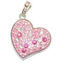 Pendrive 64gb Formato Coração Com Strass Rosa