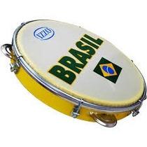 Pandeiro 10 Abs Amarelo Com Pele Leitosa Brasil - Izzo