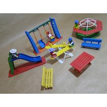 05 Bonecos Escorregador Balanço Gangorra Carrossel Mesa Lego
