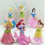 Kit Com 6 Bonequinhas Disney Princesas Bela Ariel Cinderella