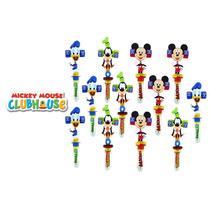 Kit 12 Canetas Personagens Mickey Pateta Turma Som Chocalho