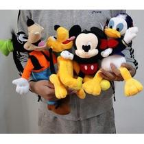 Kit Bonecos Pelúcia Disney Mickey Pateta Pato Donald Pluto