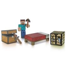 Conjunto Com Boneco Steve Minecraft Survival Pack Multikids