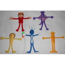 Lote Com 5 Bonecos Bendable Rei Dragão Leão Coelho Girafa