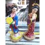 2 Mulheres Orientais Miniaturas Resina Lindas Bonecas