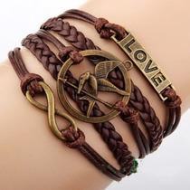 Bracelete / Pulseira Couro Dos Jogos Vorazes / Hunger Games