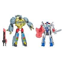 Transformers 4 Grimlock E Optimus Prime Silver Knight Hasbro