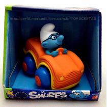 Boneco Smurf Gênio No Carrinho Carro Licenciado - Divertoys